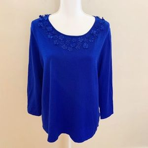 Ruby Rd Royal Blue Knit Sweater Size XL